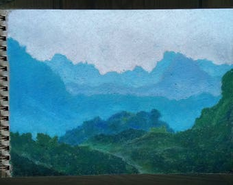 Mountain Chains Oil Pastel Drawing