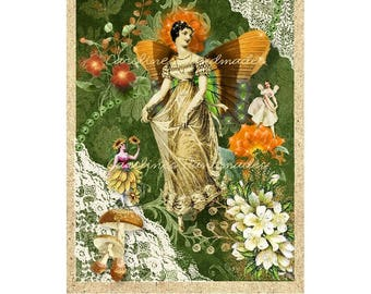"Fairy Garden Collage #21 Cotton Fabric Quilt Block (1) @ 5X7"" on 8.5X11"" Sheet"
