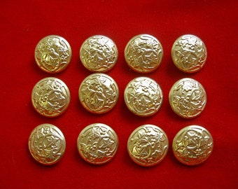 12 Gold Tone Metal Shank Buttons with Grape Leaves & Vines for Renaisance Costume