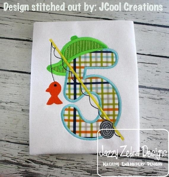 Fishing Five Appliqué Embroidery Design - 5th birthday appliqué design - fifth birthday appliqué design - birthday appliqué - fishing