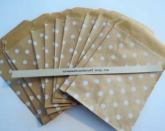 20 Polka Dots Kraft Paper Bags