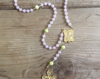 Rosary gold metal Mother and Child Centerpiece + Crucifix (Rose Quartz & Jade semi-precious stones)