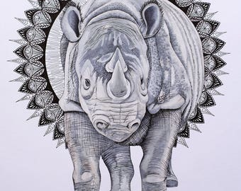 "Resistance- Rhino Giclee Print 9"" x 12"""