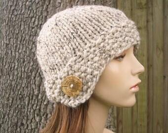 Knit Hat Womens Hat - Cloche Hat in Oatmeal Knit Hat - Oatmeal Hat Womens Accessories Winter Hat