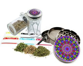 "Psychedelic - 2.5"" Zinc Alloy Grinder & 75ml Locking Top Glass Jar Combo Gift Set Item # 110514-0006"