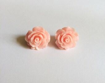 SALE Light Pink Flower Earrings
