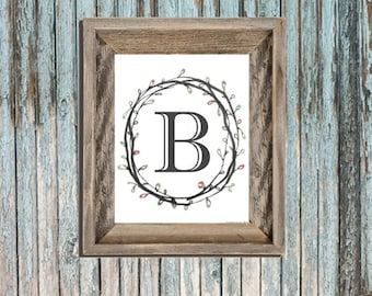 Typography Letter B - Wall Art - Letters - Printable Nursery - Entry Monogram - Simple Classic Initials - Girl Bedroom Art - College Sheet