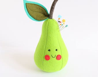 pin cushion pattern, pin cushion pdf, plush pdf pattern, pear PDf pattern, pear sewing pattern, felt pear, felt pear pdf, stuffed toy pdf