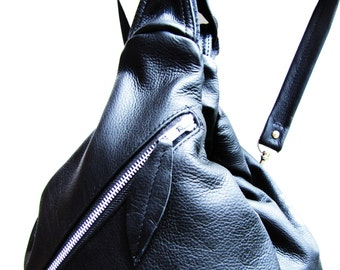 Large Black Leather Backpack- Bowling Bag- 4 Way Convertible bag- Black Messenger Bag
