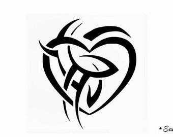 fusible black tribal heart pattern