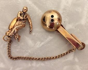 Vintage Bowling 2-piece tie clip