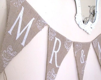 MR & MRS Glittered Burlap Banner with Tattoos