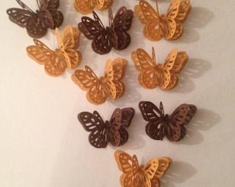 12 Shades Of Fall 3D Paper Butterflies