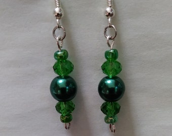 Emerald Green Bead Earrings