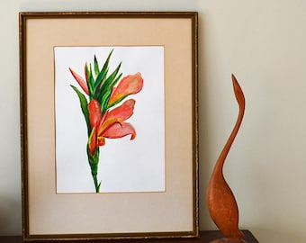 Flower Painting - Original Art Acrylic Paint on Paper - Canna Plant, Canna Lily in Orange, Salmon Pink and Green - Gardener Gift
