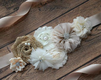 Neutral Sash, #2 , flower Belt, maternity sash, wedding sash, flower girl sash, maternity sash belt