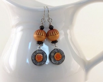 Orange Black Polymer Earrings - Silver Earrings - Artisan Earrings - Boho Chic -Boho Earrings - Orange -Antique Silver -OOAK Earrings -AE175