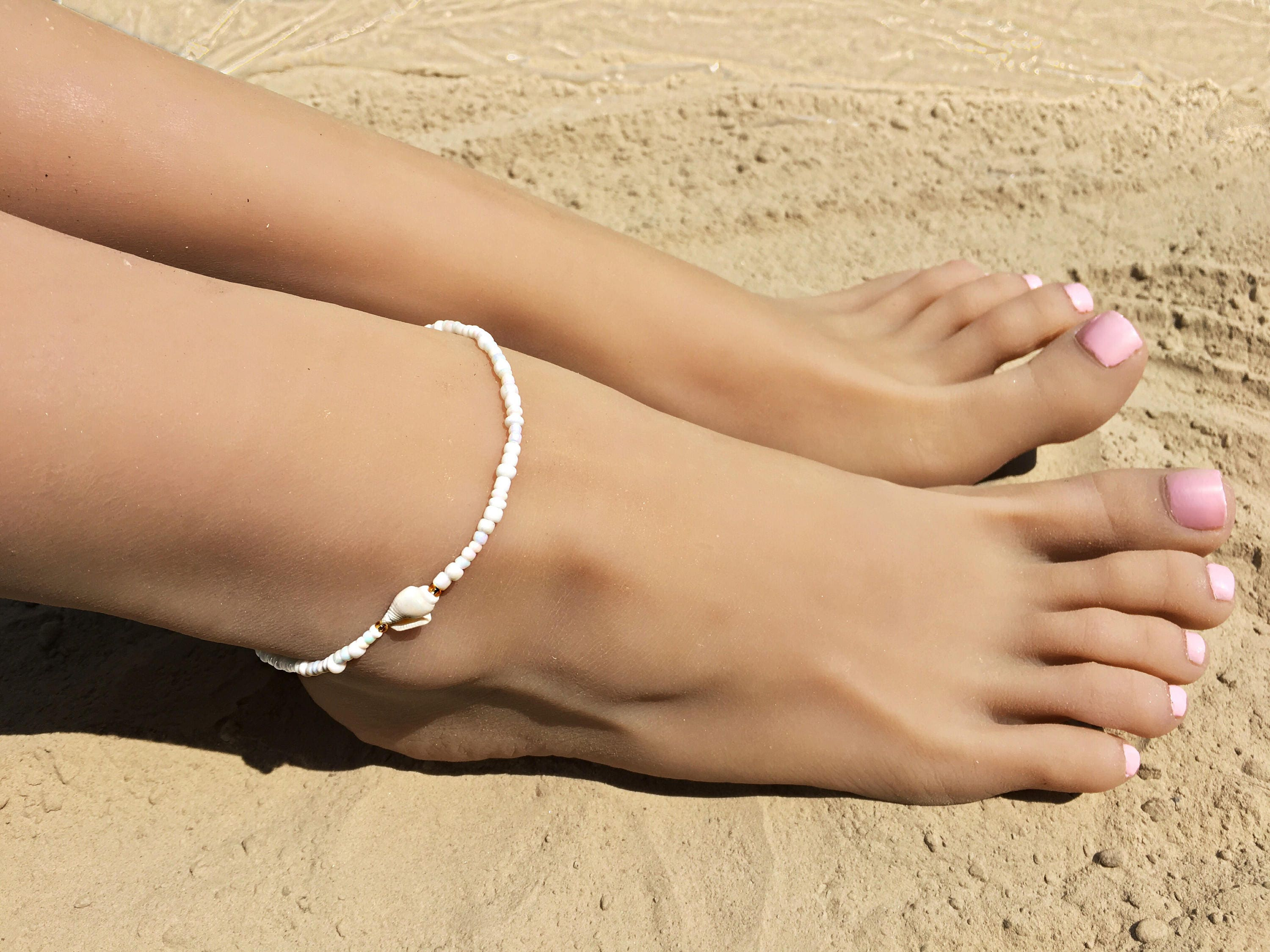 beads gold caymancode women for oval beaded womens anklets anklet round