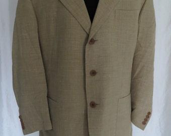 Vintage 70s mens jacket, sport coat, blazer, suit jacket, sportsjacket, dark yellow, gold, mustard, Spring Summer, Trouts made in Italy