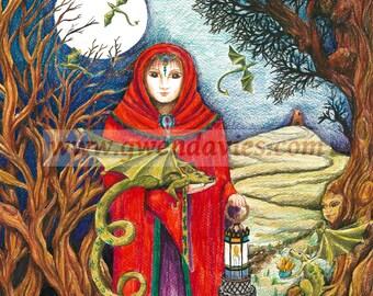 The Dragon Lady Goddess A5 blank notebook Pagan art sketchbook diary writing plain book goddess dragon