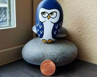 Navy Owl (Rock Painting)