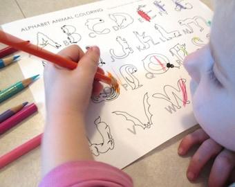 3 pack Animal Alphabet Coloring & Matching