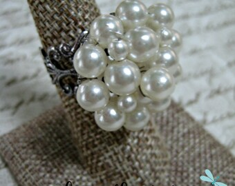 Vintage Ring, Boho Chic, Statement Ring Upcycled Recycled Repurposed Jewelry,Vintage Earring Repurposed, Pearls, Bride, Bridal, Wedding/13