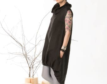 Linen dress, Summer dress, Linen clothing, Loose dress, Black dress, High low hem, Women dresses, Beautiful dress, Handmade dress