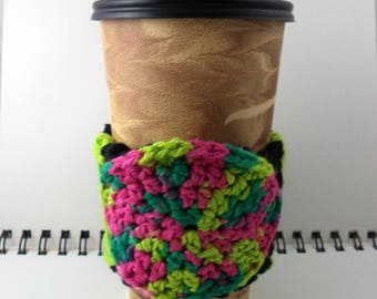 SALE - Black and Lime Crocheted Coffee Cozy with Pinks and Greens Circular Pocket (SWG-A10)