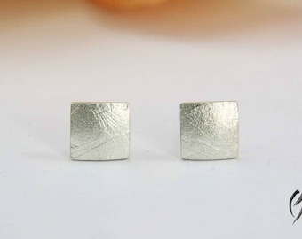 Earrings Silver, mini square paper structured