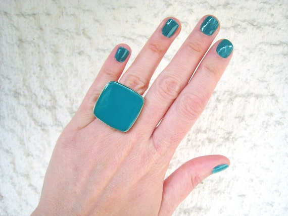 Teal ring, teal blue resin ring, cyan blue glass ring, blue - green glass ring, big chunky ring, color block jewelry, stainless steel ring