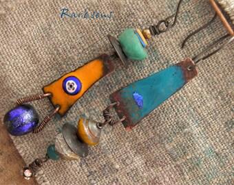 Rustic earrings enamelled pendant and Basha bead-tribal style-boho look-rustic earrings-Bohemian earrings-the pop tribal-orange-blue-cobalt