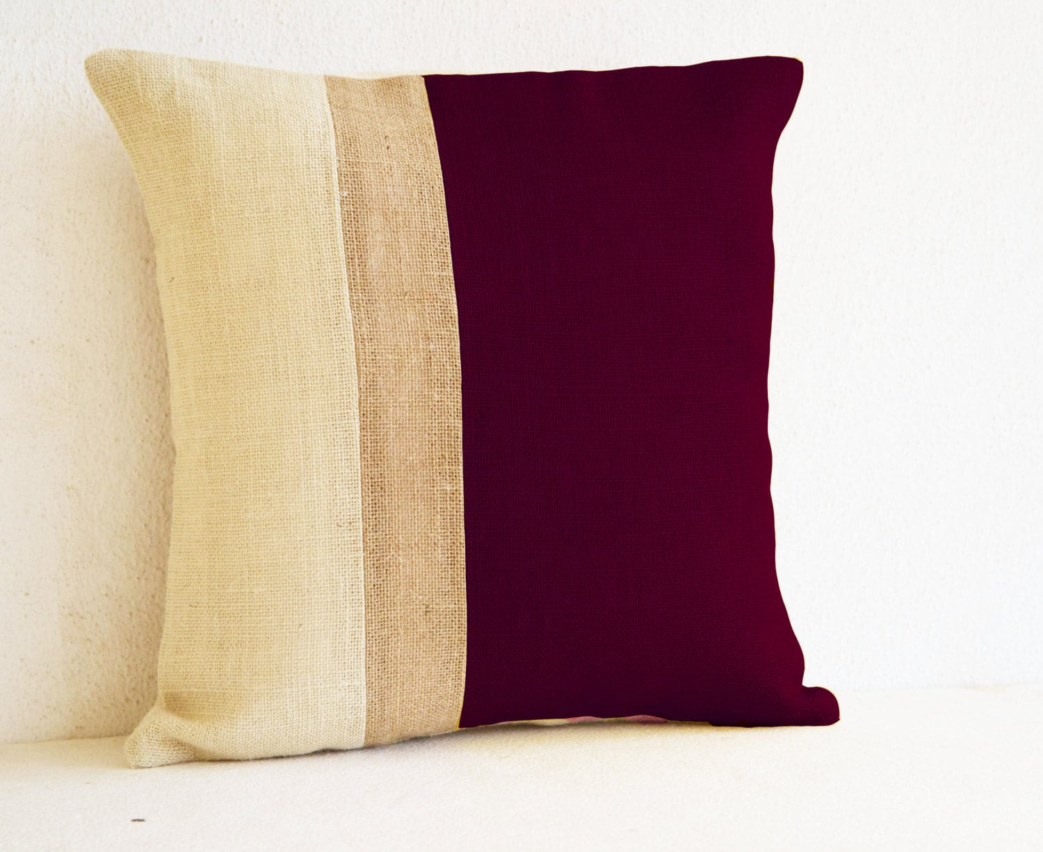 Decorative Pillow Covers Burgundy Burlap Pillow Color Block