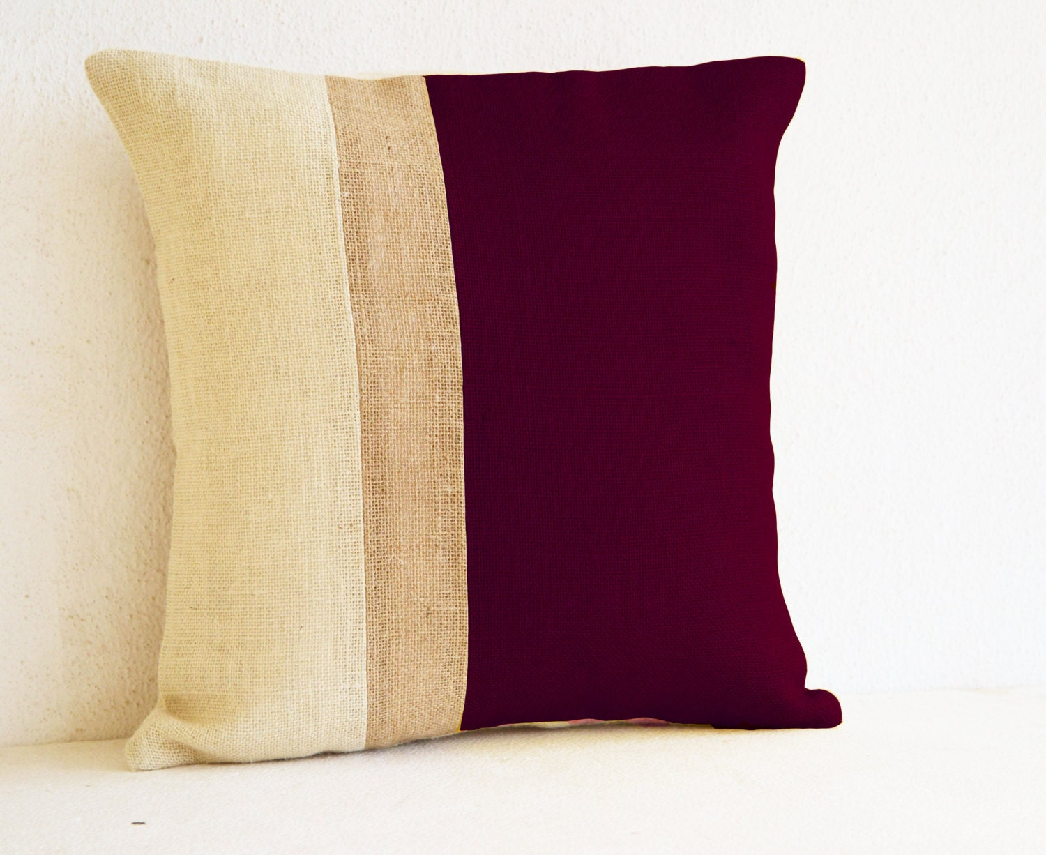 Decorative Pillow Wraps : Decorative Pillow Covers Burgundy Burlap Pillow Color Block