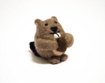 Felted Beaver - Needle Felted Animal - Beaver Figurine - Beaver Doll