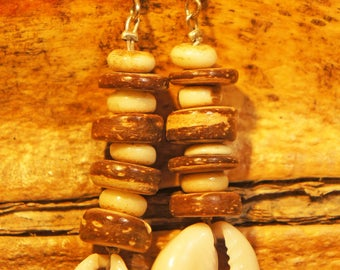 coconut and shell earrings