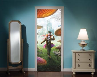 Door Mural Alice In Wonderland Mad Hatters Tea Party View Effect Decal Mural Home Decor Window Sticker Home Living Vinyl Bedroom Lounge 301