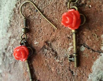 Brass Key With Red Rose Cabachon Earrings, Red Rose Brass Key Earrings, Rose Earrings, Brass Earrings, Key Earrings