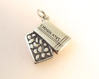 Sterling Silver BOX of CHOCOLATES Charm Pendant Candy Valentine Desert Food Kitchen .925 Sterling Silver New kt41