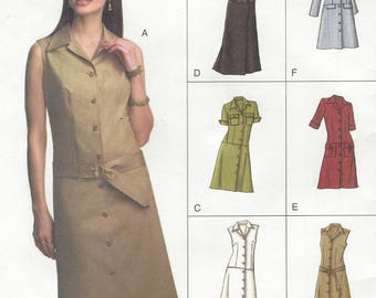 Womens Dropped Waist Summer Dress Button Front Sleeve Variations OOP Vogue Sewing Pattern V7873 Size 14 16 18 Bust 36 38 40 Uncut