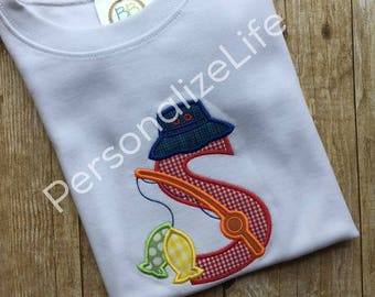 Fishing Pole with Fish Alphabet Initial (A-Z),Boys Personalized Fishing Pole Shirt, Alphabet Fishing Shirt, Boys Fishing Shirt
