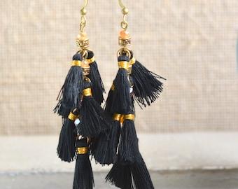 Tassel Earrings, Tassel Jewelry, Lightweight Earrings, Festival Fashion, Brass Hooks, Metallic Binding Thread, Bohemian Jewelry, WL17-1125A