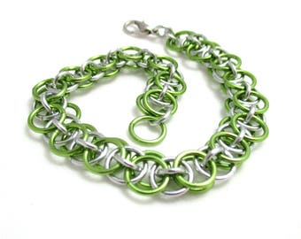 Lime Green Chain Maille Bracelet - Green Helm Chainmaille Bracelet - Chain Bracelet