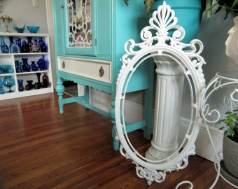 """Large White Ornate Picture Frame 37"""" x 16 1/2"""" ~Vintage Syroco Wall Mantel Mirror Frame Shabby Cottage Chic~Wedding Menu Seating Chart Frame"""