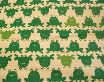 Happy Green Frog Line Snuggle Flannel Fabric - 1 7/8 Yards - Green Frogs