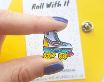 SECONDS PIN - Roller Skate - Enamel Pin - 80s - Roller Derby - Lapel Pin - Pin Badge - Seconds Sale - Brooch - Pins and Badges - Enamel Pins