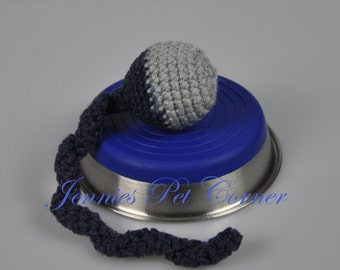 Navy Blue Gray Team Colors Cat Chase Toy - Unique Cat Toys - Rattle Ball Toy - Kitty Jingle Snake