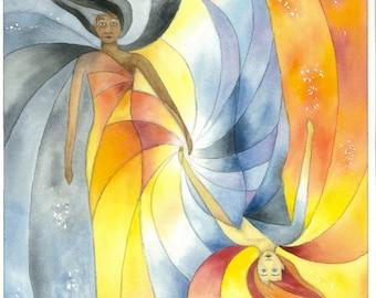 Original Watercolor Print, Dusk and Dawn, Goddesses of Light and Darkness, Eternal Dance, Fantasy, Magic
