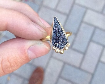 Crushed Crystal OOAK Brass Ring