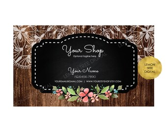 Premade business card, wood business card, floral lace business card, rustic wood business card, printable business card